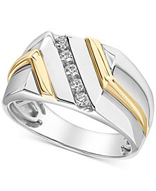 Men's Diamond Two-Tone Ring (1/4 ct. t.w.) in 10k Gold & White Gold