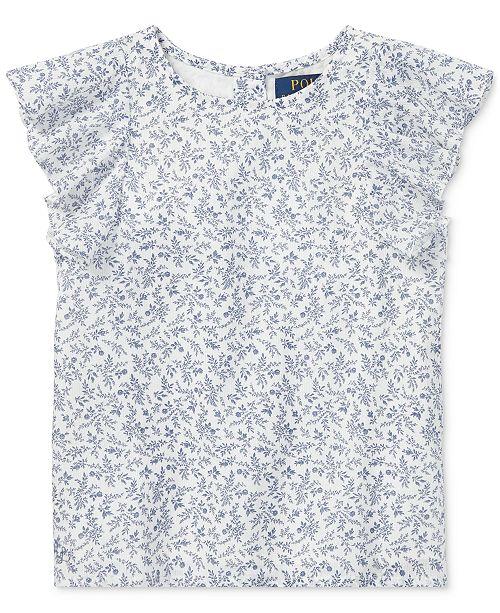 e3ffe118e5 Polo Ralph Lauren Little Girls Floral-Print Flutter-Sleeve Cotton Top ...