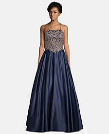 Betsy & Adam Embellished-Appliqué Gown