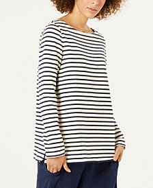 Eileen Fisher Organic Cotton Striped Boat-Neck Top, Regular & Petite