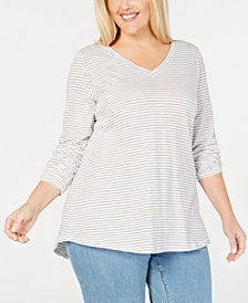 Eileen Fisher Plus Size Organic Cotton V-Neck Top