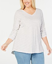 8e7d462ceb3ff Eileen Fisher Plus Size Organic Cotton V-Neck Top