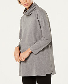 Eileen Fisher Organic Cotton Jersey Funnel-Neck Top, Regular & Petite