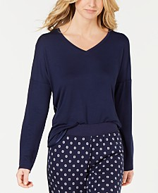 Alfani Ultra Soft Satin-Trimmed Drop Shoulder Pajama Top, Created for Macy's