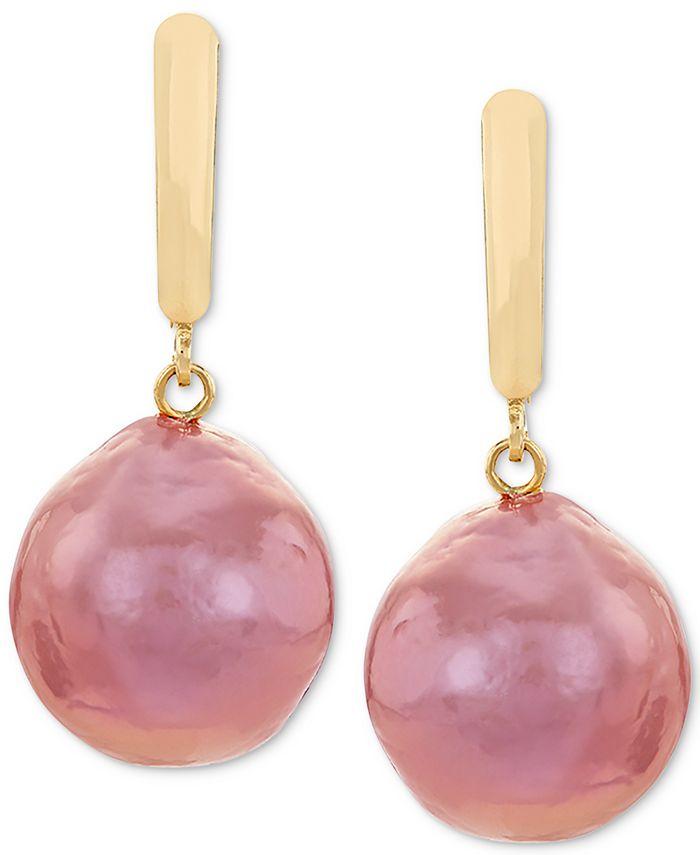 Macy's - Cultured Pink Ming Pearl (12-14mm) Drop Earrings in 14k Gold