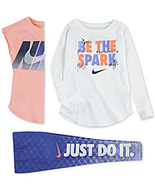 Nike Little Girls Graphic-Print T-Shirts & Geo-Print Dri-FIT Leggings