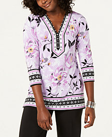 JM Collection Petite Mixed-Print Embellished Tunic, Created for Macy's