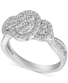 Diamond Oval Cluster Engagement Ring (1 ct. t.w.) in 14k White Gold
