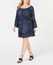 MICHAEL Michael Kors Plus Size Printed Belted Dress
