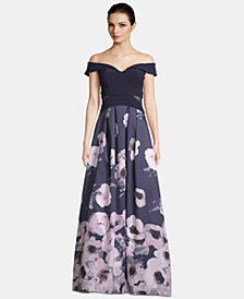 X by Xscape Off-The-Shoulder Floral-Print Gown