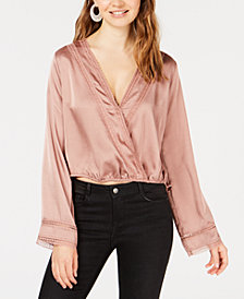 Gypsies & Moondust Juniors' Lace & Satin Surplice Top