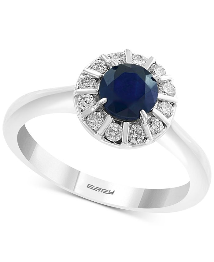 EFFY Collection - Sapphire (3/4 ct. t.w.) & Diamond (1/4 ct. t.w.) Ring in 14k White Gold