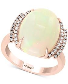 EFFY® Opal (6-7/8 ct. t.w.) & Diamond (1/6 ct. t.w.) Ring in 14k Rose Gold
