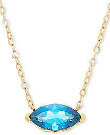 "Blue Topaz 17"" Pendant Necklace (1-1/6 ct. t.w.) in 14k Gold"
