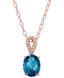 "Blue Topaz (2-1/5 ct. t.w.) & Diamond Accent 18"" Pendant Necklace in 14k Rose Gold"