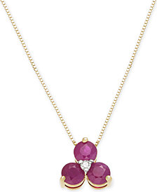 """Ruby (1 ct. t.w.) & Diamond Accent 18"""" Pendant Necklace in 14k Gold"""