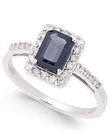 Sapphire (1-1/6 ct. t.w.) & Diamond (1/4 ct. t.w.) Ring in 14k White Gold