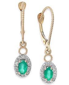 Emerald (5/8 ct. t.w.) & Diamond (1/5 ct. t.w.) Drop Earrings in 14k Gold