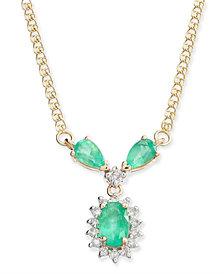 "Emerald (1 ct. t.w.) & Diamond (1/6 ct. t.w.) Fancy 16"" Collar Necklace in 14k Gold"