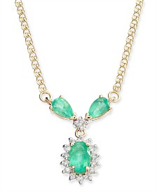 "Emerald (1 ct. t.w.) & Diamond (1/6 ct. t.w.) Fancy 16"" Collar Necklace in 14k Gold"