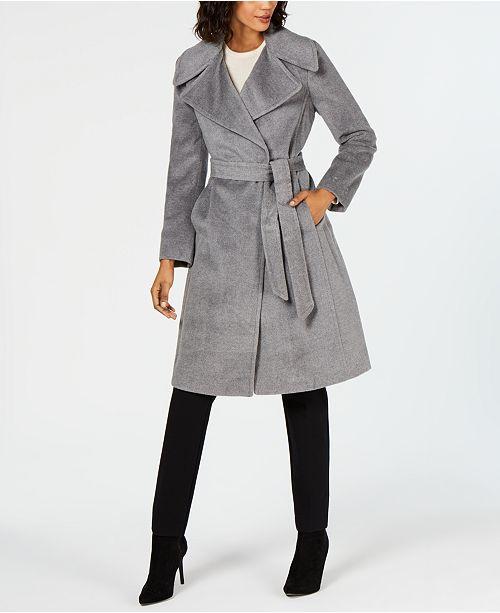 e67e9678c63477 Calvin Klein Notch-Collar Wrap Coat   Reviews - Coats - Women - Macy s