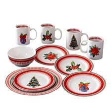 CLOSEOUT! American Atelier Noelle 16 Piece Dinnerware Set