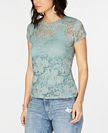 I.N.C. Petite Lace Top, Created for Macy's