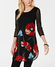 Petite Printed Mesh Tunic, Created for Macy's