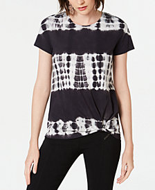 I.N.C. Cotton Tie-Dye Twist T-Shirt, Created for Macy's