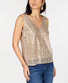 I.N.C. V-Neck Sequined Tank Top, Created for Macy's
