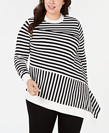 Alfani Plus Size Mixed-Stripe Asymmetrical Sweater, Created for Macy's