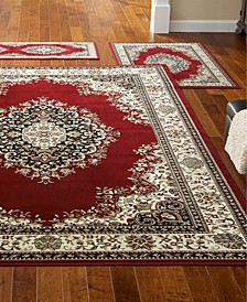 Kenneth Mink Area Rug Set, Roma Collection 3 Piece Set Kerman Red