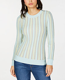 I.N.C. Petite Vertical-Stripe Pullover Sweater, Created for Macy's