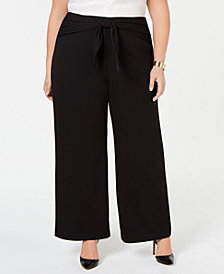 Alfani Plus Size Tied High-Waist Wide-Leg Pant, Created for Macy's