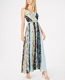 I.N.C. Petite V-Neck Patchwork Maxi Dress, Created for Macy's