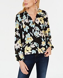 I.N.C. Floral Surplice Top, Created for Macy's