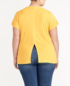 RACHEL Rachel Roy trendy Plus Size Back-Slit Top, Created for Macy's