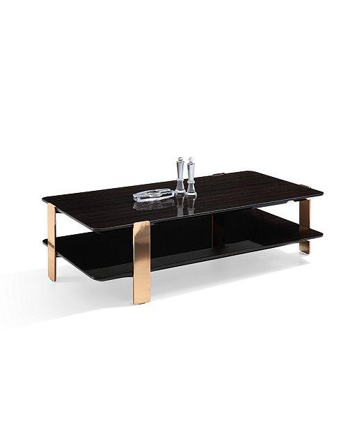Vig Furniture Modrest Leroy Modern Ebony And Rosegold Coffee Table
