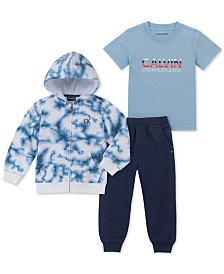 Calvin Klein Toddler Boys 3-Pc. Full-Zip Hoodie, T-Shirt & Joggers Set