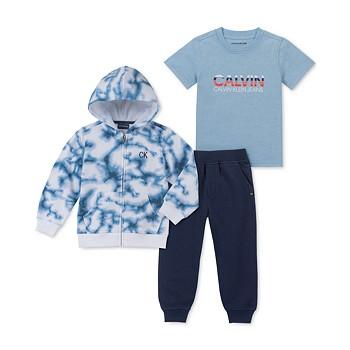 3-Piece Calvin Klein Little Boys Full-Zip Hoodie, T-Shirt & Joggers Set