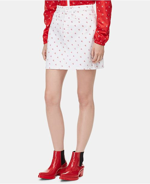 a3884207d9 Calvin Klein Jeans Cotton Monogram Denim Skirt & Reviews - Skirts ...