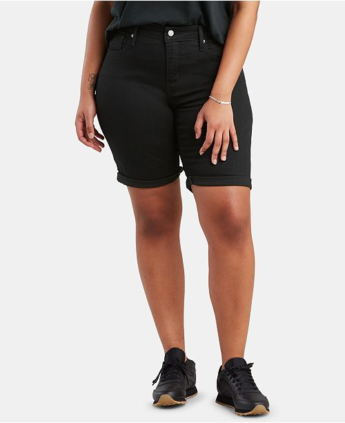 Levi's Juniors' Plus Size Shaping Denim Bermuda Shorts