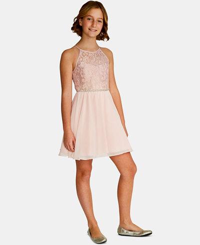 Rare Editions Big Girls Glitter-Lace Chiffon Dress