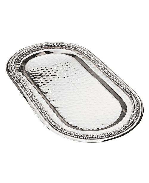Classic Touch Prism Serving Tray with Diamonds, Candle Tray