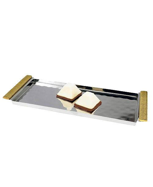 """Classic Touch 14"""" Rectangular Serving Tray with Gold Handles"""