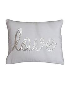 """""""Love"""" Sequin Script Faux Linen Pillow, 14"""" x 18"""""""