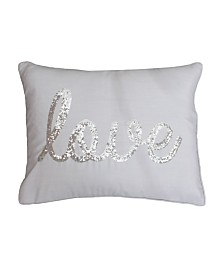 """Love"" Sequin Script Faux Linen Pillow, 14"" x 18"""