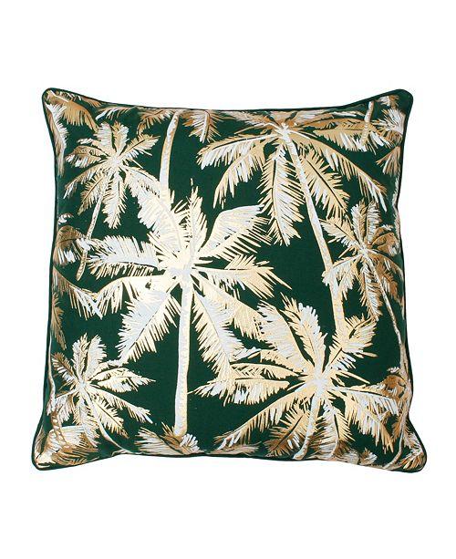 """THRO Pokki Gold Foil Printed Palm Tree Pillow, 20"""" x 20"""""""