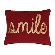 """Smile"" Sequin Script Faux Linen Pillow, 14"" x 18"""