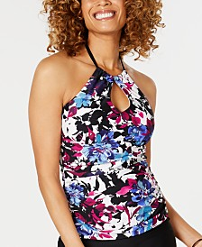 Island Escape Swim Society Printed Horizon Keyhole Tankini Top, Created for Macy's